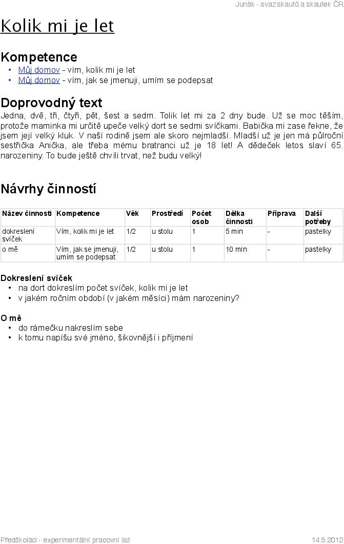 Experimentalni Pracovni Listy Pro Benjaminky